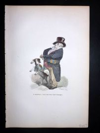 Grandville 1842 Hand Col Print. Dog with Owner